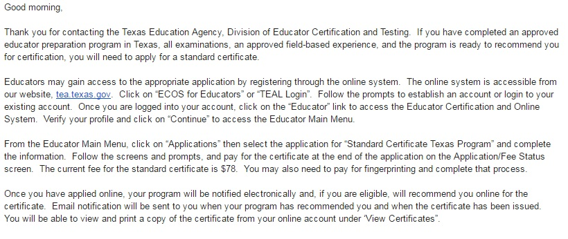 Applying For Your Texas Teacher State Certficate | 1st Year Texas ...